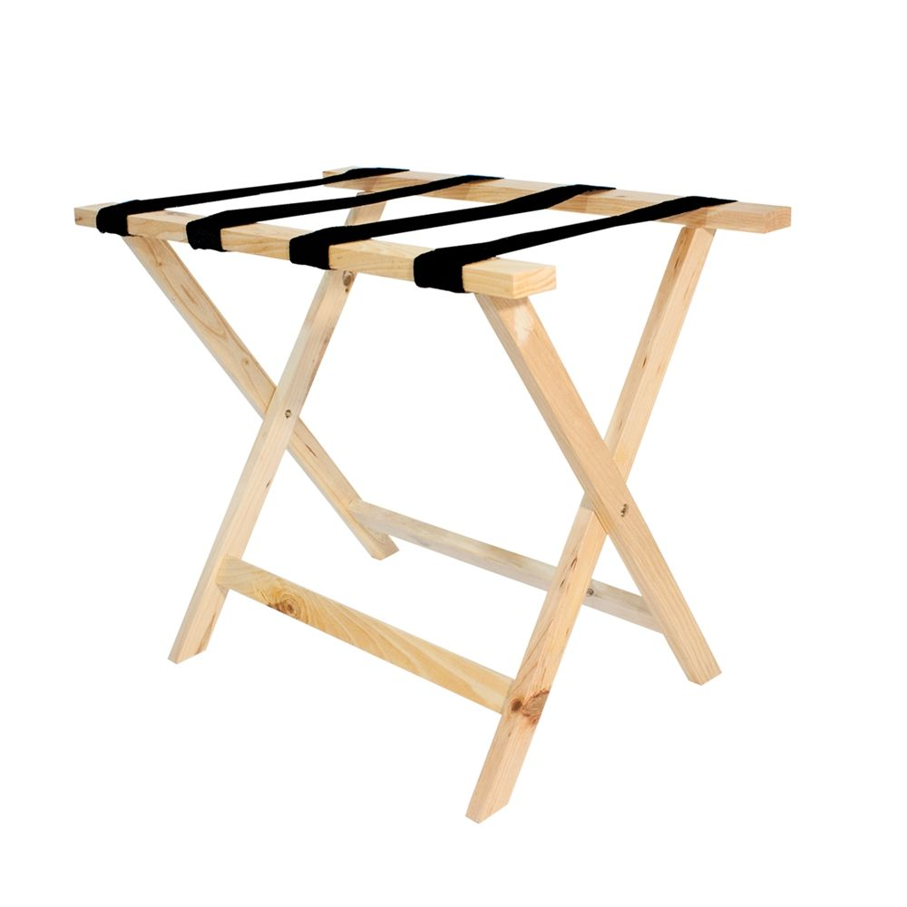 Deluxe Wooden Flat Top Luggage Rack, Natural Finish with Black Straps